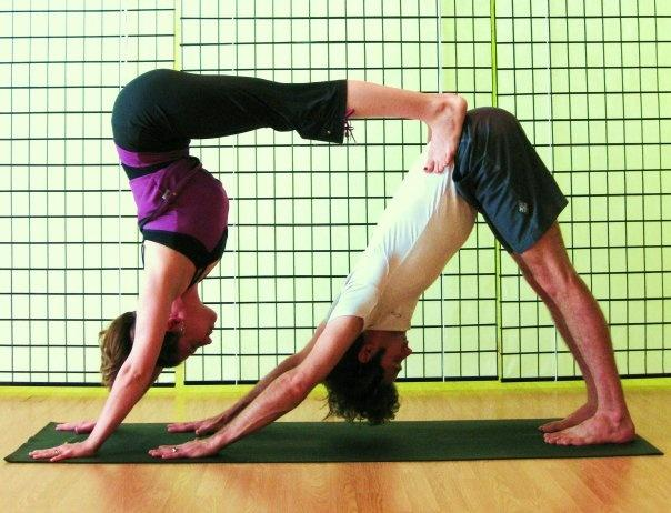 double down dog couples yoga poses